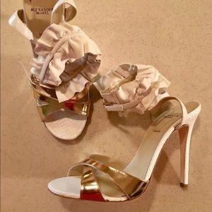 Alexander white ankle strap sandal heels